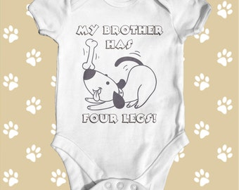 My Brother/Sister Has Four Legs Baby Bodysuit   Baby Shower Gift   Cute Baby Clothes   Pet Themed Funny Baby Bodysuit   Newborn Baby Clothes