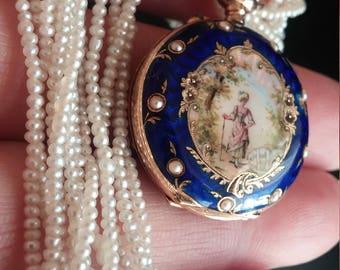 Victorian 14k Gold Seed Pearl Blue Enamel Watch Pendant Exeprional