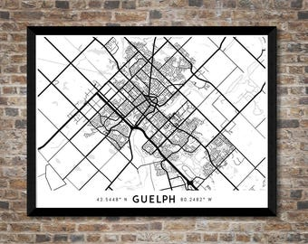 Every Road in Guelph map art | High-res digital Canada map print | Guelph print | Guelph poster | Ontario map art | Unique gift idea