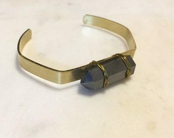 Hemalite and Brass cuff