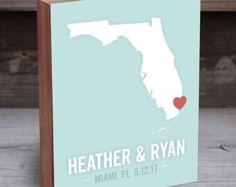 Florida Wedding Gift - Florida Map - Florida Wall Art - Florida Wood Sign - Florida Wall Decor - Florida Gifts