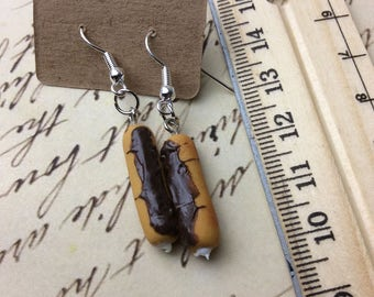 Chocolate eclair dangle earrings , pastry , dessert , 2 different ones to choose from!
