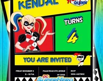 Birthday Invitation Harley Quinn PSD Layered