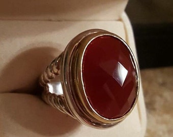 Sterling Silver faceted Carnelian ring size 7.5 Marked 925