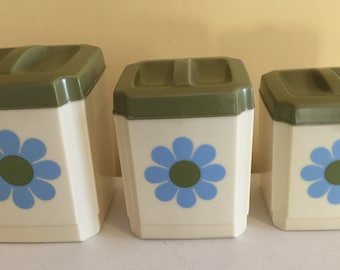 Vintage 1970's Kitchen Canisters set of 3 made by Sears