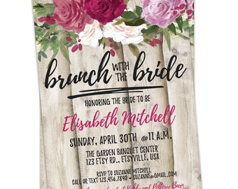 Rustic Roses Bridal Shower Invite, Bridal Shower Invitations, Rustic Wedding, Wedding Roses, DIY Bridal Shower Invitation, Rustic Wedding