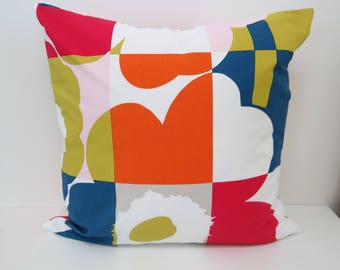 Cushion cover 20'' double-sided RUUTU UNIKKO, handmade from MARIMEKKO cotton fabric. Pillow size 50x50 cm (20''x20'')