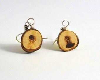 Unique wooden earrings, earrings from plum wood, earrings made of wood, Wooden jewelry,jewelry made of wood,Dangle Earrings