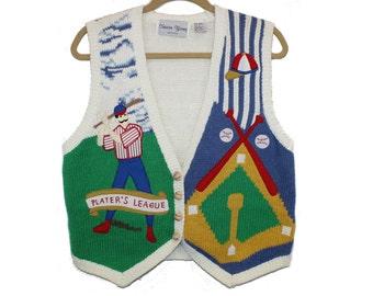 baseball novelty sweater vest • vintage softball knit vest • retro kitschy Little League team mom coach gift • Sharon Young • women size S M