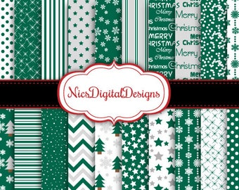 Buy 2 Get 1 Free-20 Digital Papers-Winter Nights in Teal (2C no 3) for Personal Use and Small Commercial Use Scrapbooking