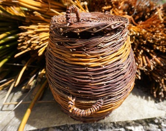 Handmade all natural woven willow basket with lid. Snake charmer, bohemian, eco-friendly style basket.