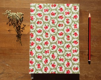 Flowery Print Fabric Hardback A5 Ruled Notebook