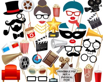 "Movie Night Party Photo Booth Prop: ""PRINTABLE MOVIE PROPS"" Movie Photobooth Props Oscar Awards Party Cinema Birthday Hollywood party"