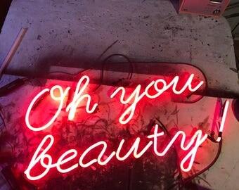 Custom neon,Neon sign, custom made neon, beauty parlour, bespoke neon sign