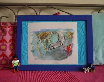Dive with Leopard Seal, marine mammals, original watercolor print