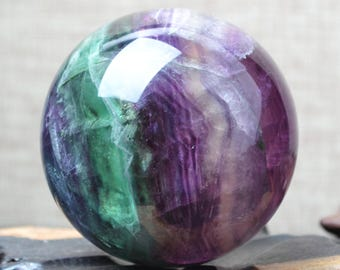 "2.16""Beautiful Large Rainbow Fluorite Sphere/Purple Fluorite Ball/Colorful Rocks/Healing Stone/Calming/Reiki/Chakra/Zen-55mm 272g"