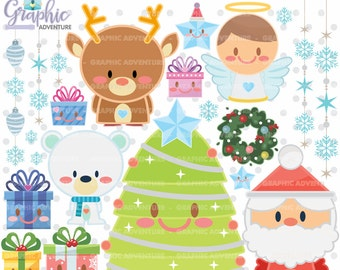 75%OFF - Christmas Clipart, Christmas Graphics, COMMERCIAL USE, Kawaii Clipart, Christmas Clip Art, Christmas Party, Christmas Tree, Winter