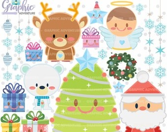 Christmas Clipart, Christmas Graphics, COMMERCIAL USE, Kawaii Clipart, Christmas Clip Art, Christmas Party, Christmas Tree, Winter Clipart