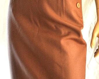 VIA VENETO, High Waist Vintage Skirt, Wool Skirt, Tobacco Pencil Skirt, Tube Skirt, Retrò Wool Skirt, Size S, Gonna Tubino, Vita Alta