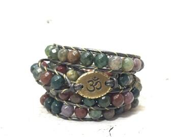 Faceted Fancy Jasper Om Wrap Bracelet