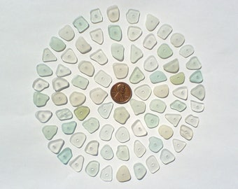 80 center drilled Genuine surf tumbled sea beach glass for jewelry 12-15 mm in length