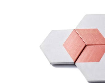 ROSE GOLD HEX Concrete Coasters