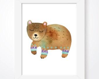 Woodland Watercolour Animal Nursery Prints, Scandinavian Nursery Bear Print, Woodland Animal Print, Watercolour Wall Art, Bear Nursery Print
