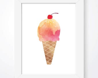 Ice Cream Illustration Ice Cream Print Ice Cream Cone Poster Ice Cream Cherry Print Ice Cream Kids Wall Art Ice Cream Kids Room Prints