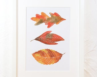 Leaves nursery art, A2 A4 three autumn fall watercolour wild nature wall home decor illustration painting print poster card instant download