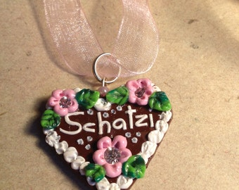 """Necklace """"Schatzi"""" light pink Oktoberfest"""