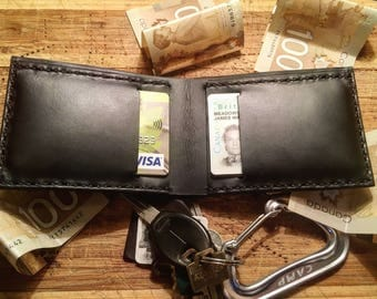 Black Bifold Full Grain Leather Wallet, Italian Chromexcel Leather