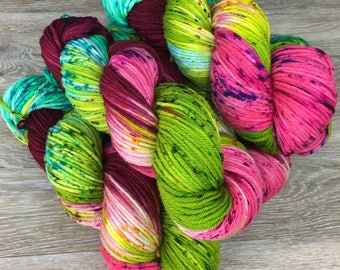 Dahlia Garden - Variegated and Speckled DK or Worsted Weight Yarn, Superwash Merino 4-Ply,Various Base Options