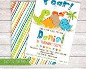 Dinosaur Invitation, Dinosaur Birthday Invite, Dinosaur Party, Dinomite Invitation, Printed Invitation, Printable Invitation, Prehistoric