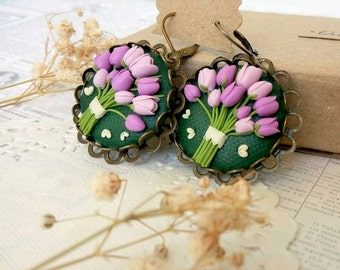 Green flower floral earrings Lilac statement round earrings Flower earrings Lilac green earrings