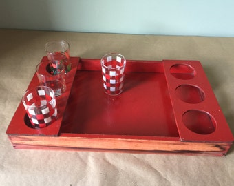 1960s Vintage Red Wood Serving Tray. Breakfast in Bed Tray