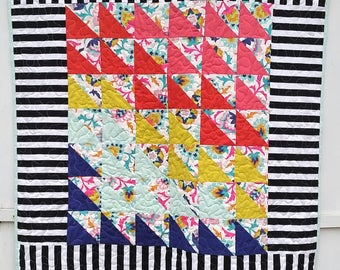 Modern Crib Quilt, Crib Quilt, Toddler Quilt, Rainbow Quilt, Striped Quilt, Wheelchair Quilt, Triangle Quilt, Black and White Striped Quilt