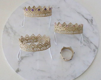 Gold Crown / Rhinestone crown for rabbits and small pets