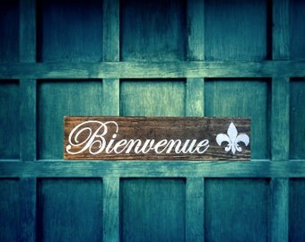 Bienvenue Wood Sign, French Welcome sign