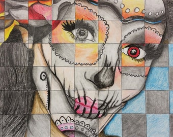 Day of the Dead Girl Checkered
