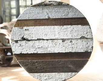 Reclaimed Round, barnwood, chippy, white, rustic, wall decor, tray