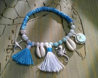 Bracelet shells glass beads blue / white