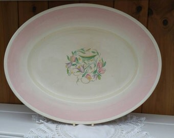SUSIE COOPER 1930s large serving dish/ Pink Dresden Spray/ vintage meat dish/English transferware platter/ships worldwide from UK