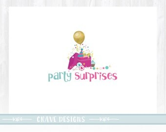 Party Logo, Kids Logo, Gift Logo, Party planner, Balloons Logo, Watermark, Gold foil logo
