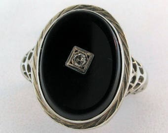 Vintage BLACK ONYX & DIAMOND Hand Pierced Filigree Ring 14K White Gold Size 4.25