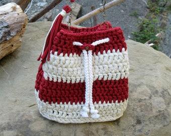 Crochet handbag, crossbody bag, knit backpack, bucket bag, cotton bag, woman bag purse, shoulder bag, perfect gift for her, trendy bag #02