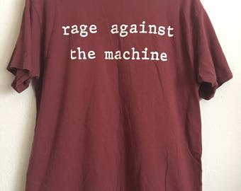 1990s RAGE AGAINST The MACHINE Oversized Distressed Vintage T Shirt // Size Xlarge
