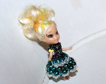 Amazing beaded dress in green, blue and white for cute doll (comes with doll); handmade, beadweaving, Art&collectibles, Dolls-miniatures