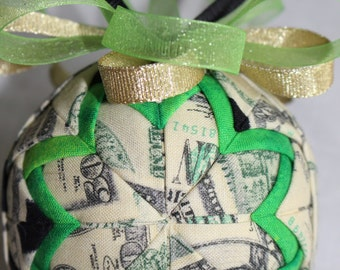 Cash Money Dollar Bills Fabric Quilted Ornament