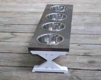 Small - 4 Bowl - Dog Bowl Stand - Elevated Dog Bowl - Raised Dog Feeder - Farmhouse Table - Raised Dog Bowls - Dog Feeder - Dog Bowl Holder