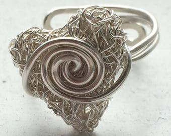 Sterling Silver hand knitted heart adjustable ring